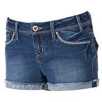 Juniors' Hydraulic Bailey Frayed Jean Shortie Shorts