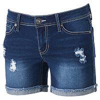 Juniors' Hydraulic Lola Ripped Denim Midi Shorts