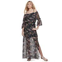 Juniors' Lily Rose Off-The-Shoulder Floral Maxi Dress
