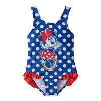 Disney's Minnie Mouse Toddler Girl Polka-Dot Ruffle One-Piece Swimsuit