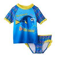 Disney / Pixar Finding Dory Toddler Girl Ruffled Rashguard & Swimsuit Bottoms Set