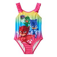 Toddler Girl PJ Masks Gekko, Catboy & Owlette Rainbow Ruffle One-Piece Swimsuit