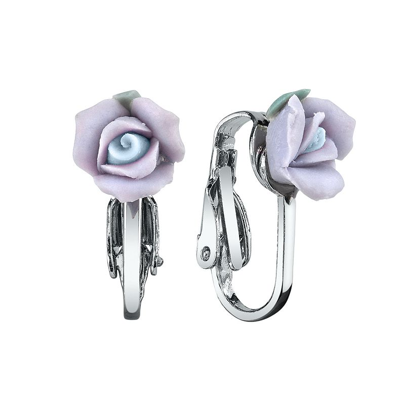 1928 Porcelain Rose Clip On Earrings