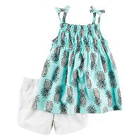 Girls 4-8 Carter's Pineapple Top & Solid Shorts Set