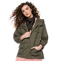 madden NYC Juniors' Plus Size Hooded Utility Jacket
