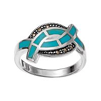 Silver Luxuries Simulated Turquoise Crossover Ring