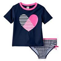 Girls 4-6x OshKosh B'gosh® Heart Short Sleeve Rashguard & Bottoms Swimsuit Set
