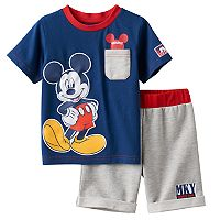 Disney's Mickey Mouse Baby Boy Graphic Tee & French Terry Shorts Set