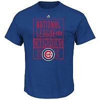 Men's Majestic Chicago Cubs 2016 National League Champions Conquerors Tee