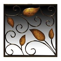 New View Rustic Leaves Square Wall Mirror by