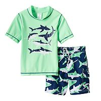 Boys 4-7 Carter's Shark Rashguard & Swim Trunks Set