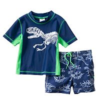 Boys 4-7 Carter's Dinosaur Rash Guard & Swim Trunks Set