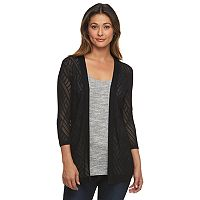 Women's Croft & Barrow® Pointelle Open-Front Cardigan