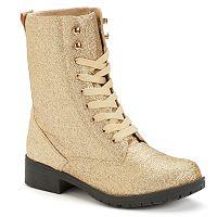 Sacred Heart Women's Metallic Combat Boots