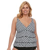 Plus Size A Shore Fit C-D Cup Tummy Slimmer Tiered Tankini Top