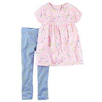 Baby Girl Carter's Cut-Out Floral Babydoll Tunic & Striped Leggings Set