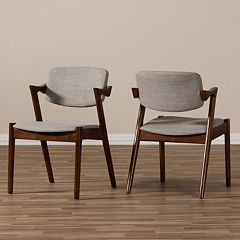 Baxton Studio Mid-Century Arm Dining Chair 2-piece Set