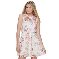 Juniors' Lily Rose Floral Illusion Lace Skater Dress