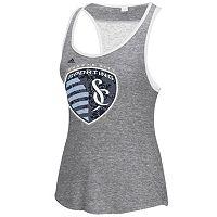 Women's adidas Sporting Kansas City Pearl Logo Lace Back Tank Top