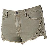 Juniors' Mudd® High Waist Crochet Jean Shortie Shorts