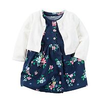 Baby Girl Carter's Navy Floral Bodysuit Dress & Pocket Cardigan Set