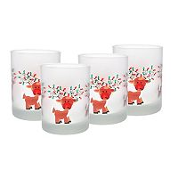 Culver Frosted Reindeer Lights 4-pc. Double Old-Fashioned Glass Set
