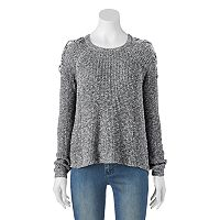 Juniors' Cloud Chaser Lace-Up Cold-Shoulder Sweater