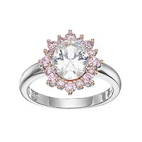 Lily & Lace Pink & White Cubic Zirconia Two Tone Oval Halo Ring