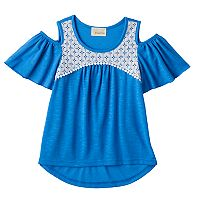 Girls 7-16 My Michelle Crochet Lace Patterned Cold Shoulder Top