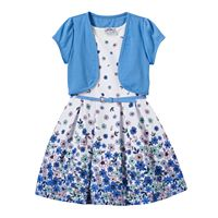 Girls 4-6x Short Sleeve Jacket & Floral Skater Dress with Belt
