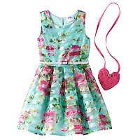 Girls 4-6x Knitworks Burnout Striped Floral Dress with Purse