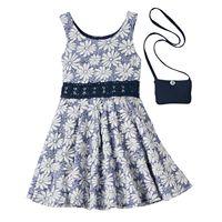 Girls 4-6x Floral Skater Dress & Purse Set