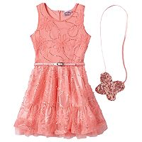 Girls 4-6x Knitworks Belted Floral Sequin Dress with Crossbody Butterfly Accessory Purse