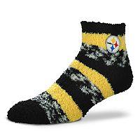 Women's For Bare Feet Pittsburgh Steelers Pro Stripe Slipper Socks