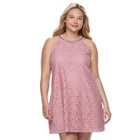 Juniors' Plus Size Candie's® Embellished Halter Shift Dress