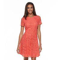 Women's Apt. 9® Pleated Lace Fit & Flare Dress