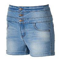 Juniors' Tinseltown Triple Stack Denim Shortie Shorts