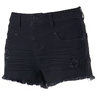 Juniors' Mudd® High Waist Ripped Jean Shortie Shorts