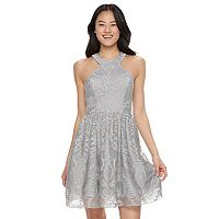 Juniors' Speechless Glitter Halter Dress