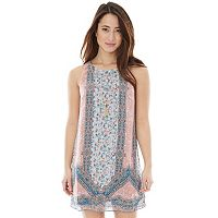 Juniors' IZ Byer California Print Necklace Shift Dress