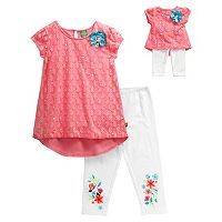 Girls 4-14 Dollie & Me Lace Overlay Mini Dress & Floral Graphic Capri Leggings Set