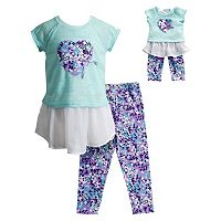 Girls 4-14 Dollie & Me Floral Heart Graphic Chiffon Dress & Floral Capri Leggings Set