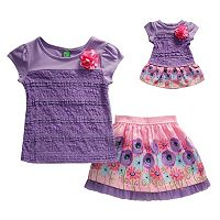 Girls 4-14 and Doll Dollie & Me Lace Top & Floral Skirt Set