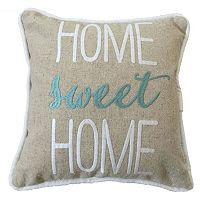 ''Home Sweet Home'' Embroidered Small Throw Pillow