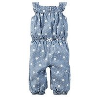 Baby Girl Carter's Polka-Dot Chambray Jumpsuit