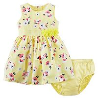 Baby Girl Carter's Yellow Floral Print Dress & Bloomers Set
