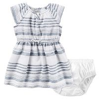 Baby Girl Carter's Chambray Striped Dress & Bloomers Set