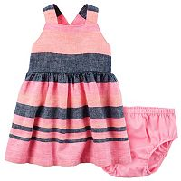 Baby Girl Carter's Sleeveless Striped Dress & Bloomers Set
