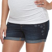 Maternity a:glow Full Panel Embroidered Jean Shorts