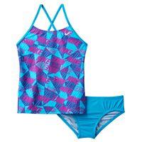 Girls 7-14 Nike Cross-Back Graphic Tankini Swimsuit Set